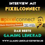 Quadratischer Banner: Interview mit Pixelconnect – Das beste GamingLenkrad. Pixelconnect Channel Banner im Hintergrund